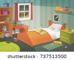 kid or teenager bedroom in the... | Shutterstock .eps vector #737513500