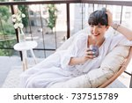 attractive girl in white summer ... | Shutterstock . vector #737515789