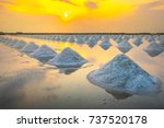 sea salt evaporation pond with... | Shutterstock . vector #737520178