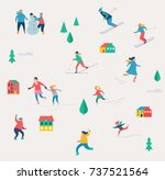 winter sport scene  christmas... | Shutterstock .eps vector #737521564
