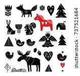 christmas illustrations  hand... | Shutterstock .eps vector #737521684
