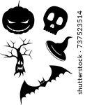 halloween set small | Shutterstock .eps vector #737523514