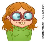 funny cartoon nerd girl on the... | Shutterstock .eps vector #737526154
