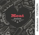 vector background with meat...   Shutterstock .eps vector #737530294