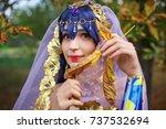beautiful girl closeup in...   Shutterstock . vector #737532694