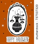 happy halloween. black flowers... | Shutterstock .eps vector #737537320