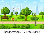 green city park with bench and... | Shutterstock . vector #737538340