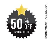 black sticker and star with 50  ... | Shutterstock .eps vector #737539354