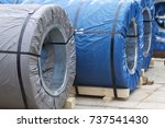 rolls of cold rolled galvanized ... | Shutterstock . vector #737541430
