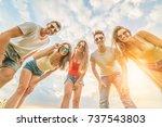 the five happy friends look to... | Shutterstock . vector #737543803