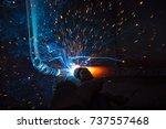 welder  craftsman  erecting... | Shutterstock . vector #737557468