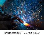 welder  craftsman  erecting... | Shutterstock . vector #737557510