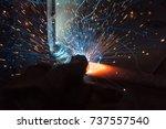 welder  craftsman  erecting... | Shutterstock . vector #737557540
