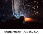 welder  craftsman  erecting... | Shutterstock . vector #737557564