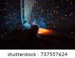 welder  craftsman  erecting... | Shutterstock . vector #737557624