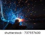 welder  craftsman  erecting... | Shutterstock . vector #737557630