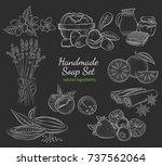 handmade soap set. isolated... | Shutterstock .eps vector #737562064