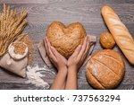 female hands holding heart...   Shutterstock . vector #737563294