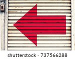left turn signs on the steel... | Shutterstock . vector #737566288