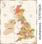 united kingdom map   vintage... | Shutterstock .eps vector #737573620
