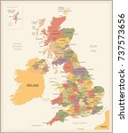 united kingdom map   vintage... | Shutterstock .eps vector #737573656