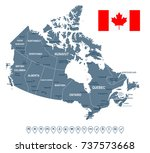 canada map and flag   vector... | Shutterstock .eps vector #737573668