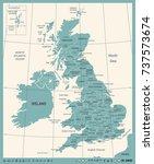 united kingdom map   vintage... | Shutterstock .eps vector #737573674