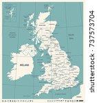 united kingdom map   vintage... | Shutterstock .eps vector #737573704