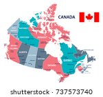 canada map and flag   vector... | Shutterstock .eps vector #737573740