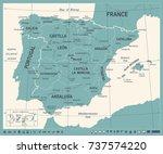 spain map   vintage detailed... | Shutterstock .eps vector #737574220