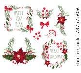 floral frames for christmas... | Shutterstock .eps vector #737575606