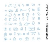 icons set about medicine. thin... | Shutterstock .eps vector #737575660