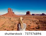 woman sitting in monument... | Shutterstock . vector #737576896