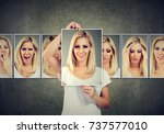 masked blonde woman expressing... | Shutterstock . vector #737577010