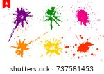 set of colorful splashes  paint ... | Shutterstock .eps vector #737581453
