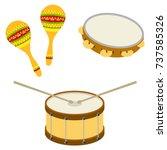 drum  tambourine  maracas.... | Shutterstock .eps vector #737585326
