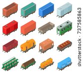 railway carriage icons set.... | Shutterstock .eps vector #737585863