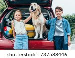 happy little kids with cute dog ...   Shutterstock . vector #737588446