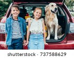 adorable little kids with dog... | Shutterstock . vector #737588629