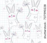 Stock vector vintage seamless cute rabbit bunny blue grey pastel in the sky with dandelion flower cartoon 737590228