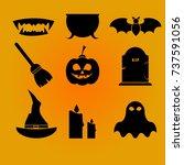 halloween icon set vector. | Shutterstock .eps vector #737591056