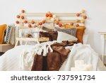stylish scandi style king size... | Shutterstock . vector #737591734