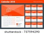calendar print template for... | Shutterstock .eps vector #737594290