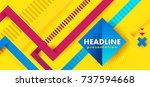 Headline presentation abstract yellow. Vector abstract background texture design, bright poster, banner yellow background, pink and blue stripes and shapes. Hipster modern geometric abstract.  | Shutterstock vector #737594668