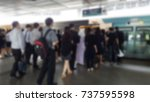 commuter getting in line and... | Shutterstock . vector #737595598