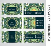 set of business cards with... | Shutterstock .eps vector #737597179