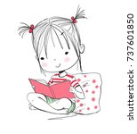 girl reading book | Shutterstock .eps vector #737601850