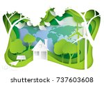 go green.nature landscape and... | Shutterstock .eps vector #737603608