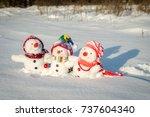happy snowman family   Shutterstock . vector #737604340