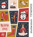 christmas greeting card with...   Shutterstock .eps vector #737605453